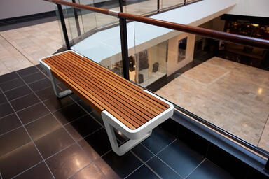 Circuit Bench shown with Aluminum Texture frame and FSC® Recycled reclaimed Teak