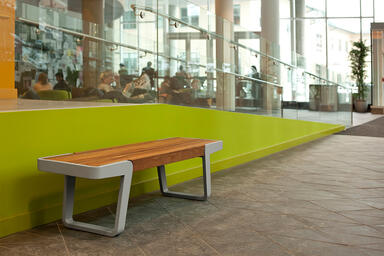 Circuit Bench, powdercoated frame, FSC® Recycled reclaimed Teak slats