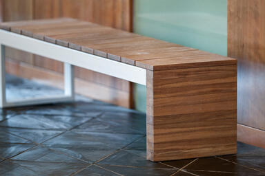 Duo Bench, powdercoated frame, FSC® 100% Jatoba slats and end
