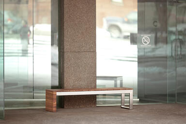 Duo Bench, Polished frame, FSC® 100% Cumaru slats and end