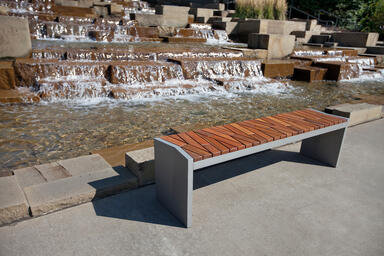 Boardwalk Bench with Atlantic City Boardwalk FSC® Recycled reclaimed Cumaru