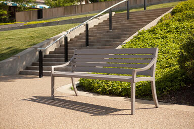 Cordia Bench shown in 6 foot, backed configuration with aluminum slats