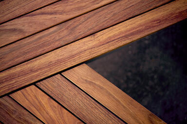 Detail of FSC® 100% Jatoba hardwood slats