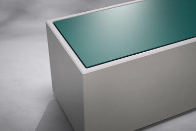 "Quadra 72"" module shown with aluminum inset in Deep Ocean Texture powdercoat"