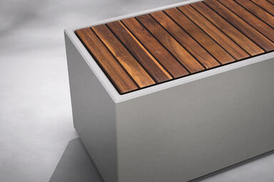 "Quadra 72"" module shown with FSC Recycled reclaimed Teak slat inset"