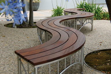 Bridge Benches, curved, Satin Stainless Steel frames, FSC® 100% Ipé slats