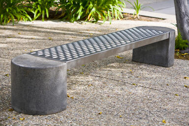 Foundation Bench, half-round concrete ends, Stainless Steel seat