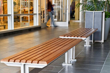 Knight Benches, 6 foot, backless, powdercoated frame, FSC® 100% Ipé slats