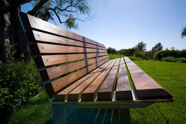 Knight Bench, 6 foot, backed, powdercoated frame, FSC® 100% Ipé slats