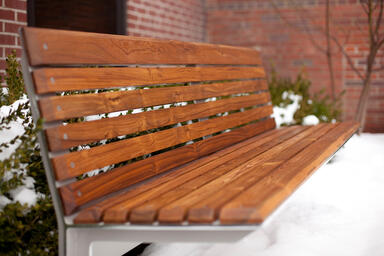 Knight Bench, 6 foot, backed, powdercoated frame, FSC® Recycled Teak slats