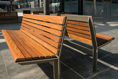 Knight Benches, 6 foot, backed, powdercoated frames, FSC® 100% Ipé slats
