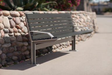 Knight Bench shown in 6 foot, backed configuration with Argento Texture