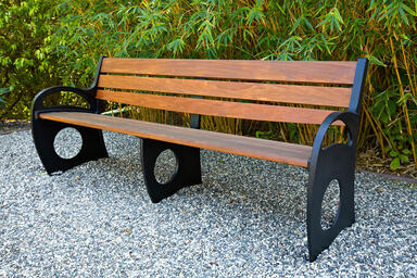 Leda Bench, 8 foot, backed with arms, powdercoated frame, FSC® 100% Ipé slats