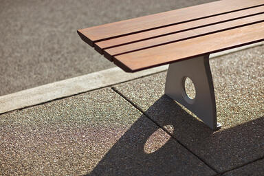 Leda Bench, backless, powdercoated frame, FSC® 100% Ipé slats