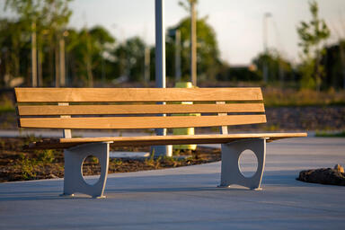 Leda Bench, 8 foot, backed, powdercoated frame, FSC® 100% Ipé slats
