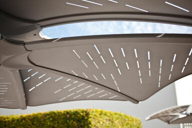 Detail of Soleris Sunshade with aluminum panels with Slat perforation pattern