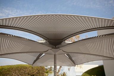 Detail of Soleris Sunshade with aluminum panels with Fade perforation pattern