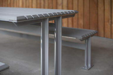 Knight Table Ensemble with aluminum slats