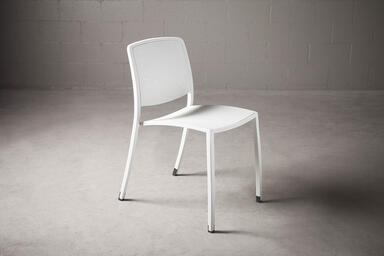 Avivo Chair shown with White Texture powdercoat and Vento perforation pattern