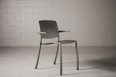 Avivo Chair, with arms, shown with Slate Texture powdercoat with Riva perf
