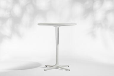"Avivo Pedestal Bar Table, 36"" diameter top, shown with White Texture powdercoat"