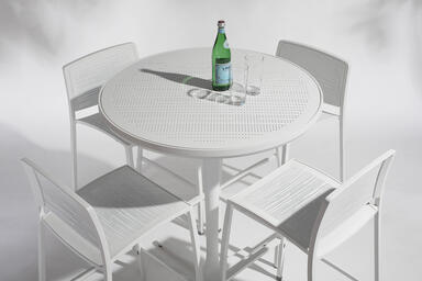 "Avivo Pedestal Bar Table, 36"" diameter top, shown with White Texture"