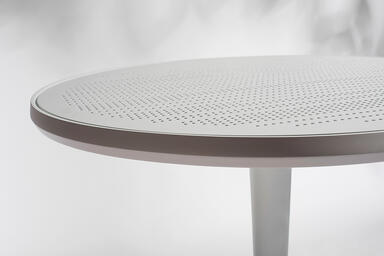 Detail of Avivo Pedestal Bar Table shown with White Texture powdercoated frame