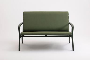 Vaya Textile Bench shown with Moss Texture powdercoated frame
