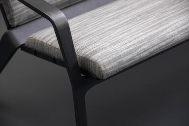 Vaya Textile Bench shown with Dark Grey Metallic Texture powdercoated frame