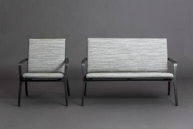 Vaya Textile Chair and Bench shown with Dark Grey Metallic Texture powdercoated