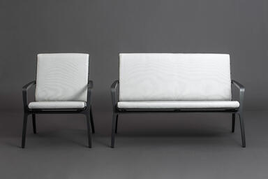 Vaya Textile Chair and Bench shown with Dark Grey Metallic Texture