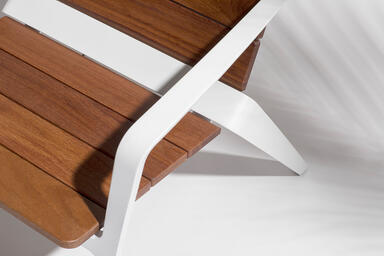 Detail of Vaya chair shown with White Texture powdercoated frame and FSC® 100%