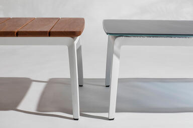 Detail of Vaya tables shown with White Texture powdercoated frames