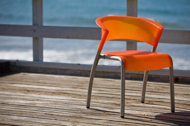 Bantam Chair shown in Tangerine