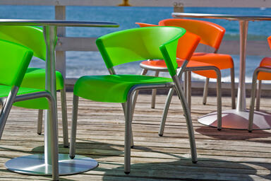 Bantam Chairs shown in Lime and Tangerine