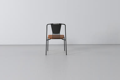 Factor Chair with cast aluminum back and FSC 100% Cumaru hardwood seat with