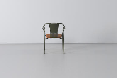 Factor Chair with cast aluminum back and FSC 100% Cumaru hardwood seat with Moss