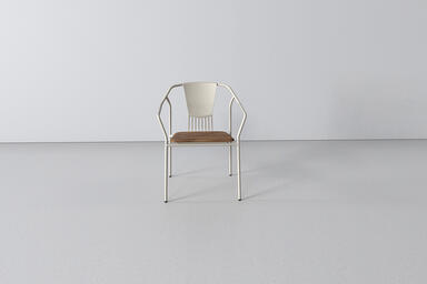 Factor Chair with cast aluminum back and FSC 100% Teak hardwood seat with