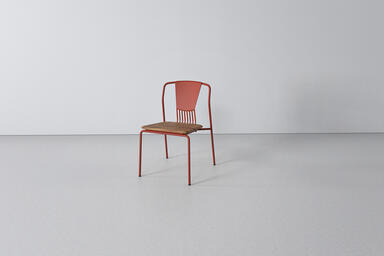 Factor Chair with cast aluminum back and FSC 100% Teak hardwood seat with Clay