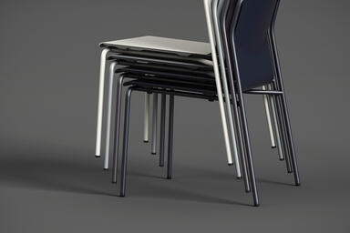 Factor Chairs without arms shown with formed aluminum seat in multiple colors