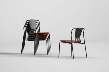 Factor Chairs without arms shown with FSC 100% Cumaru hardwood slat seat