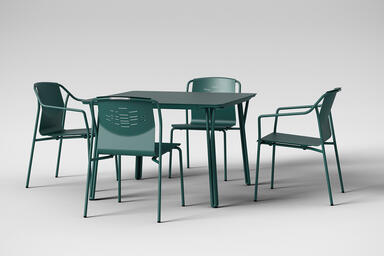 Factor Chairs with and without arms shown with formed aluminum seat in Deep Ocea