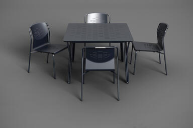 Factor Chairs without arms shown with formed aluminum seat in Ink Blue Texture