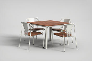 Factor Chairs with arms shown with FSC 100% Cumaru hardwood slat seat, and frame