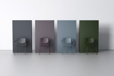 Factor Chairs shown in formed aluminum seat and back configuration