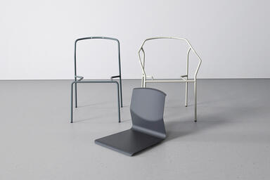 Factor Chair frames, without and with arms, shown with a formed aluminum seat