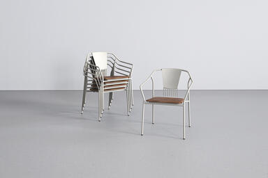 Factor Chairs, shown with cast aluminum back and FSC 100% Teak hardwood seat