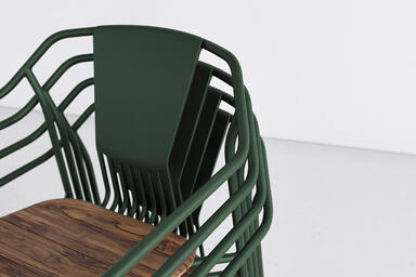 Factor Chairs shown with cast aluminum back and FSC 100% Teak hardwood slat seat