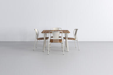 Factor Table and Chairs shown with FSC 100% Teak hardwood slats