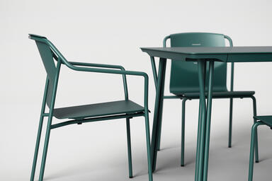 Factor Table shown with Deep Ocean Texture powdercoated frame and aluminum table